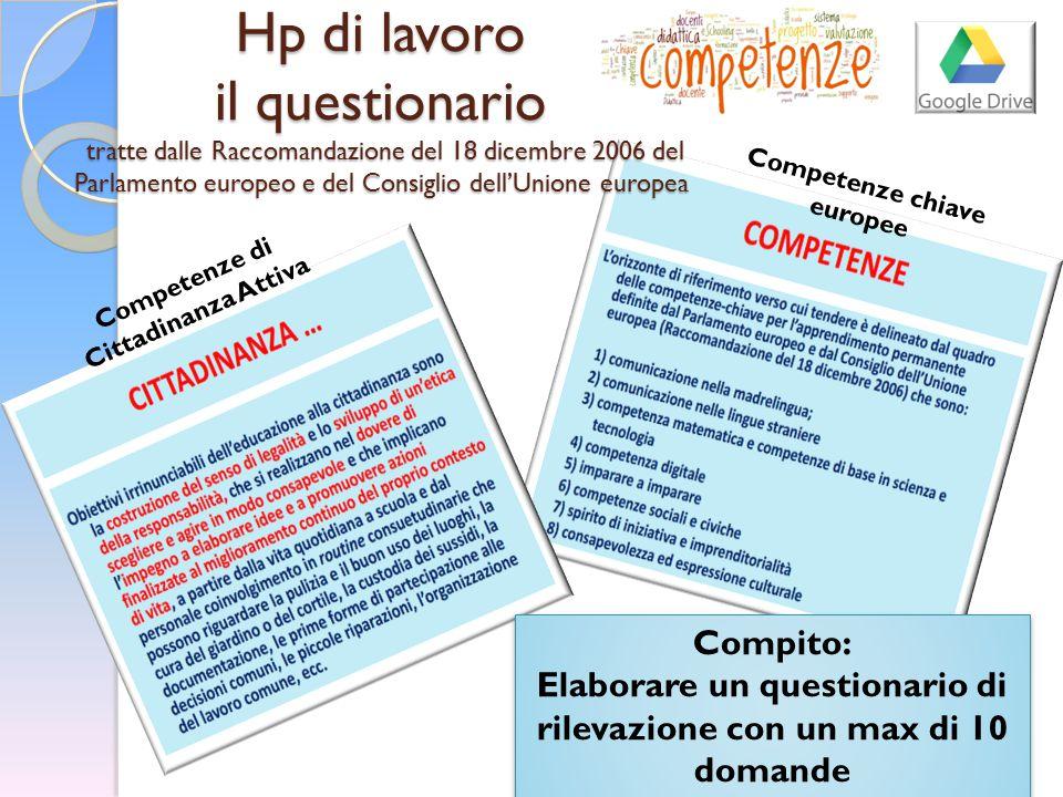 Hp di lavoro il questionario tratte dalle Raccomandazione del 18 dicembre 2006 del Parlamento europeo e del Consiglio dell'Unione europea