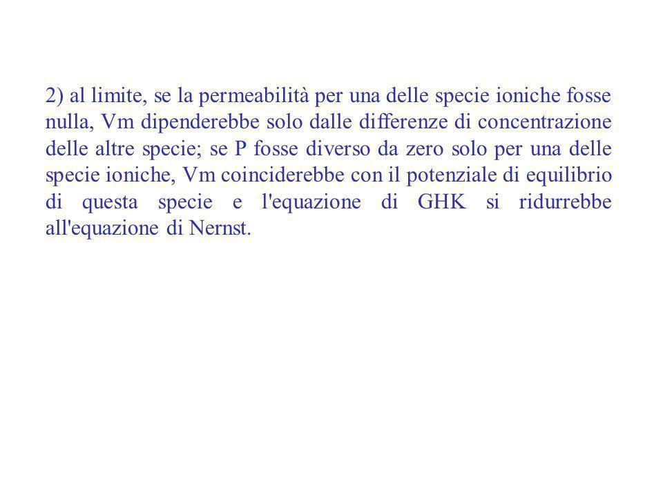 2) al limite, se la permeabilità per una delle specie ioniche fosse nulla, Vm dipenderebbe solo dalle differenze di concentrazione delle altre specie; se P fosse diverso da zero solo per una delle specie ioniche, Vm coinciderebbe con il potenziale di equilibrio di questa specie e l equazione di GHK si ridurrebbe all equazione di Nernst.