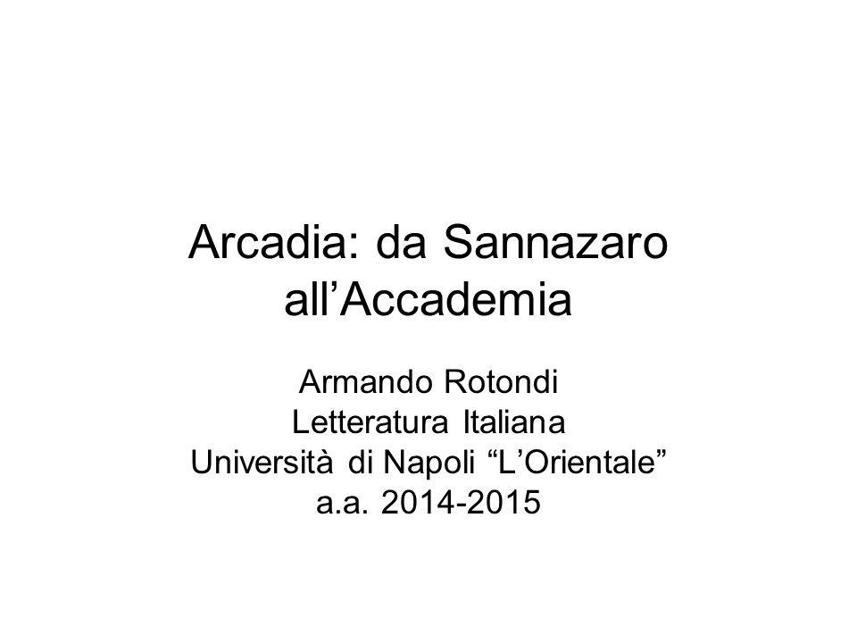 Arcadia: da Sannazaro all'Accademia