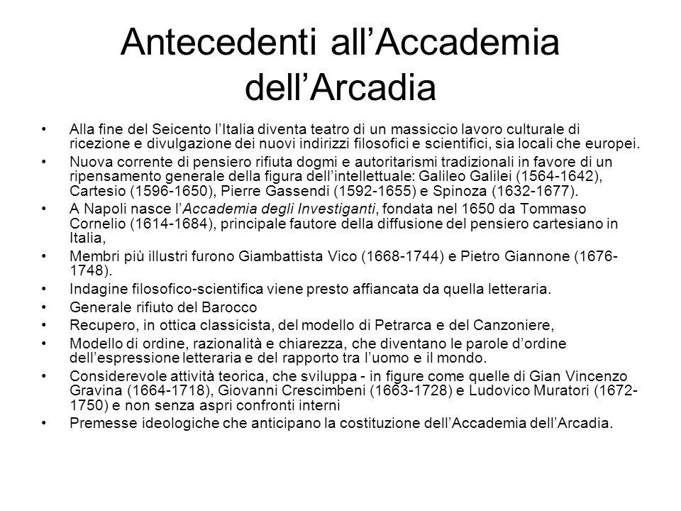 Antecedenti all'Accademia dell'Arcadia