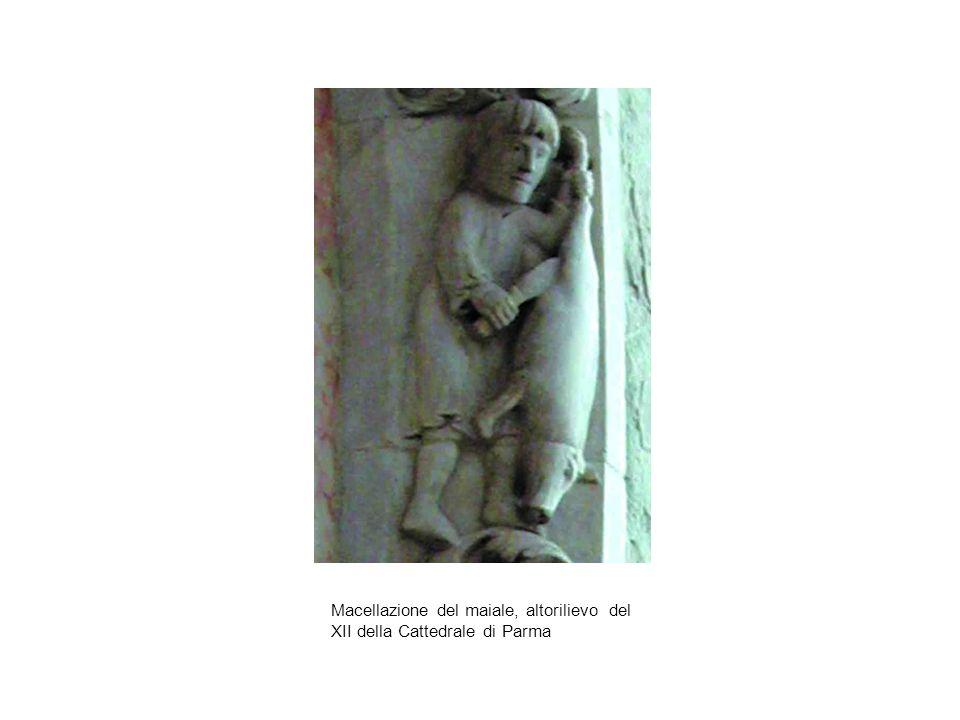 Macellazione del maiale, altorilievo del XII della Cattedrale di Parma