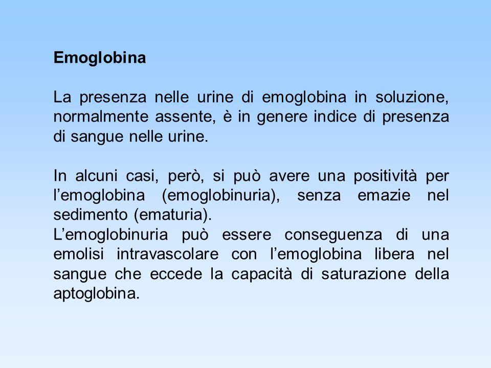 Emoglobina La presenza nelle urine di emoglobina in soluzione, normalmente assente, è in genere indice di presenza di sangue nelle urine.