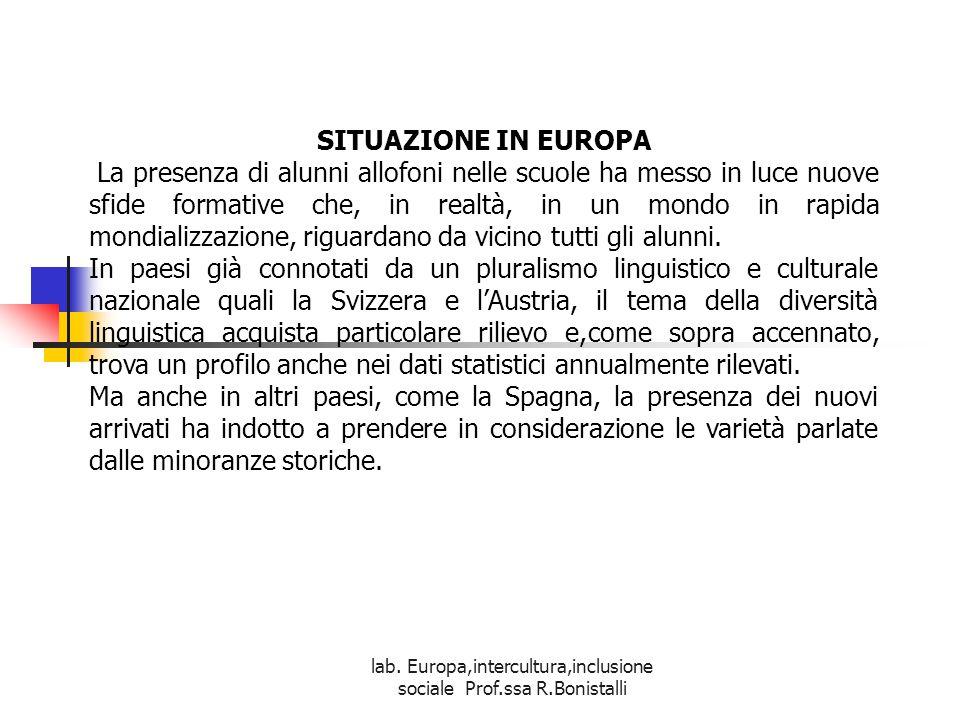 lab. Europa,intercultura,inclusione sociale Prof.ssa R.Bonistalli