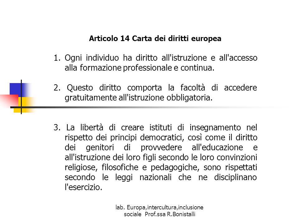 Articolo 14 Carta dei diritti europea