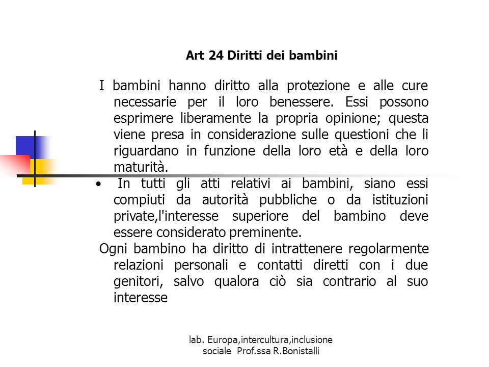 Art 24 Diritti dei bambini