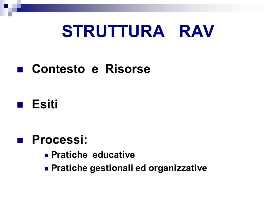 STRUTTURA RAV Contesto e Risorse Esiti Processi: Pratiche educative