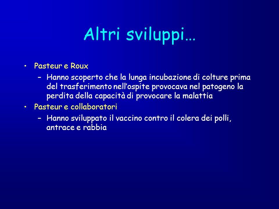 Altri sviluppi… Pasteur e Roux