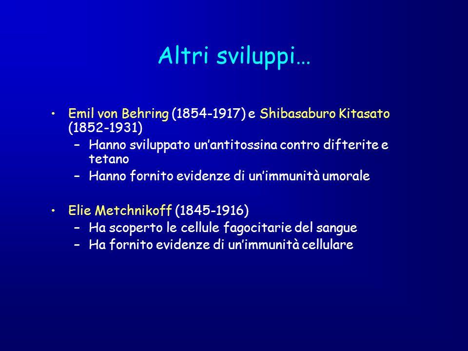 Altri sviluppi… Emil von Behring (1854-1917) e Shibasaburo Kitasato (1852-1931) Hanno sviluppato un'antitossina contro difterite e tetano.