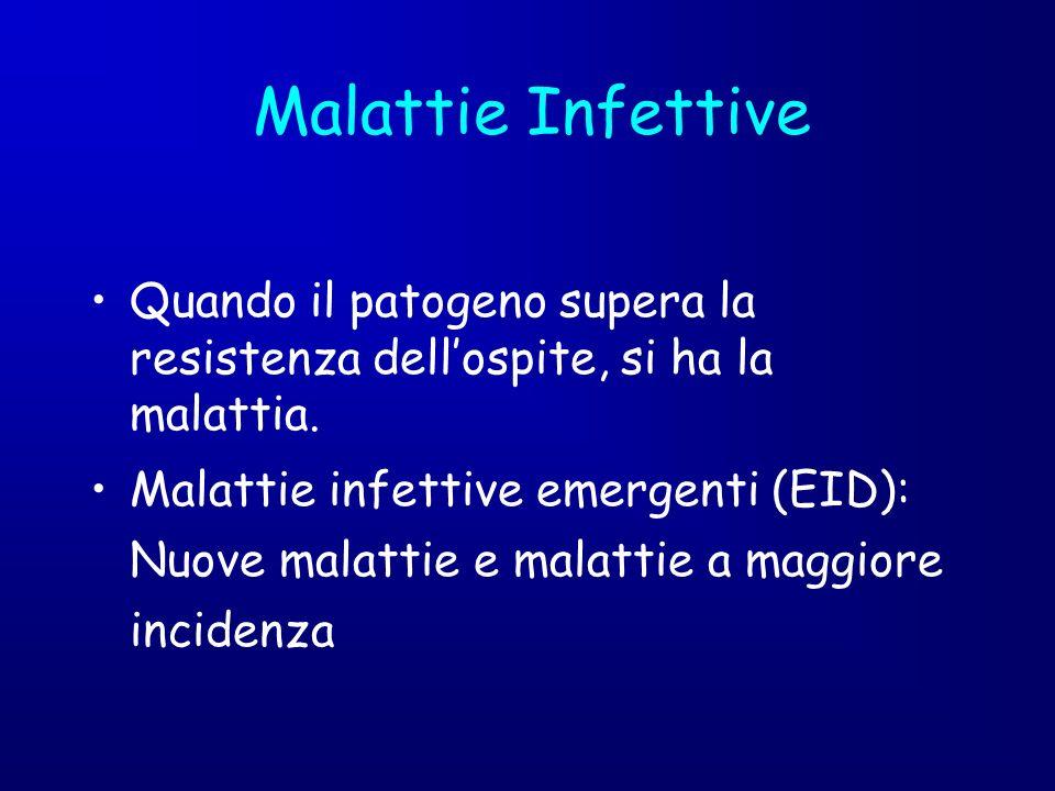 Malattie Infettive Quando il patogeno supera la resistenza dell'ospite, si ha la malattia.