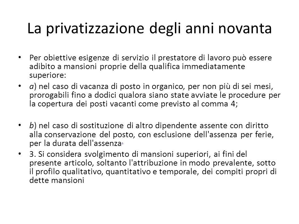 La privatizzazione degli anni novanta