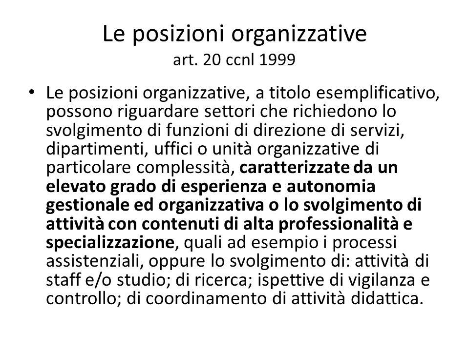 Le posizioni organizzative art. 20 ccnl 1999
