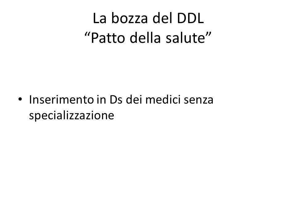La bozza del DDL Patto della salute