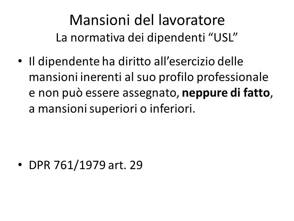 Mansioni del lavoratore La normativa dei dipendenti USL