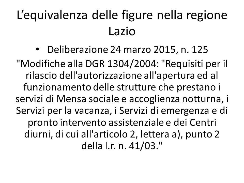 L'equivalenza delle figure nella regione Lazio