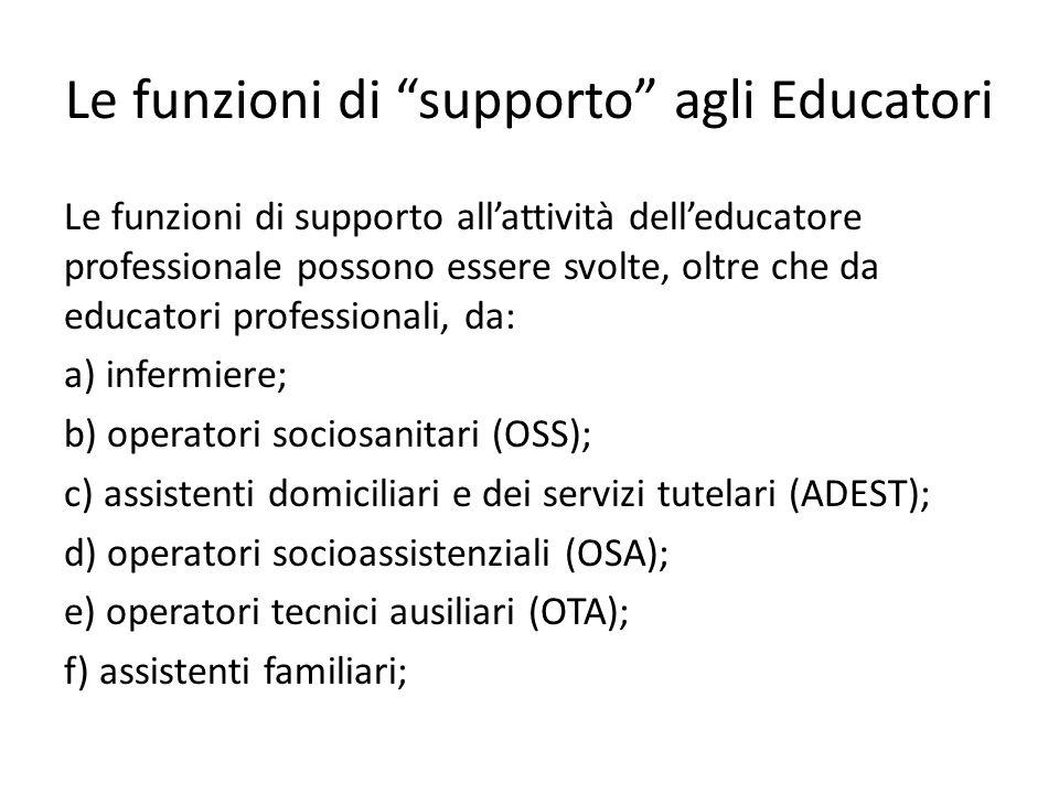 Le funzioni di supporto agli Educatori