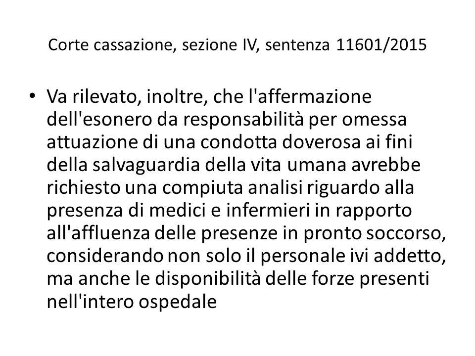 Corte cassazione, sezione IV, sentenza 11601/2015