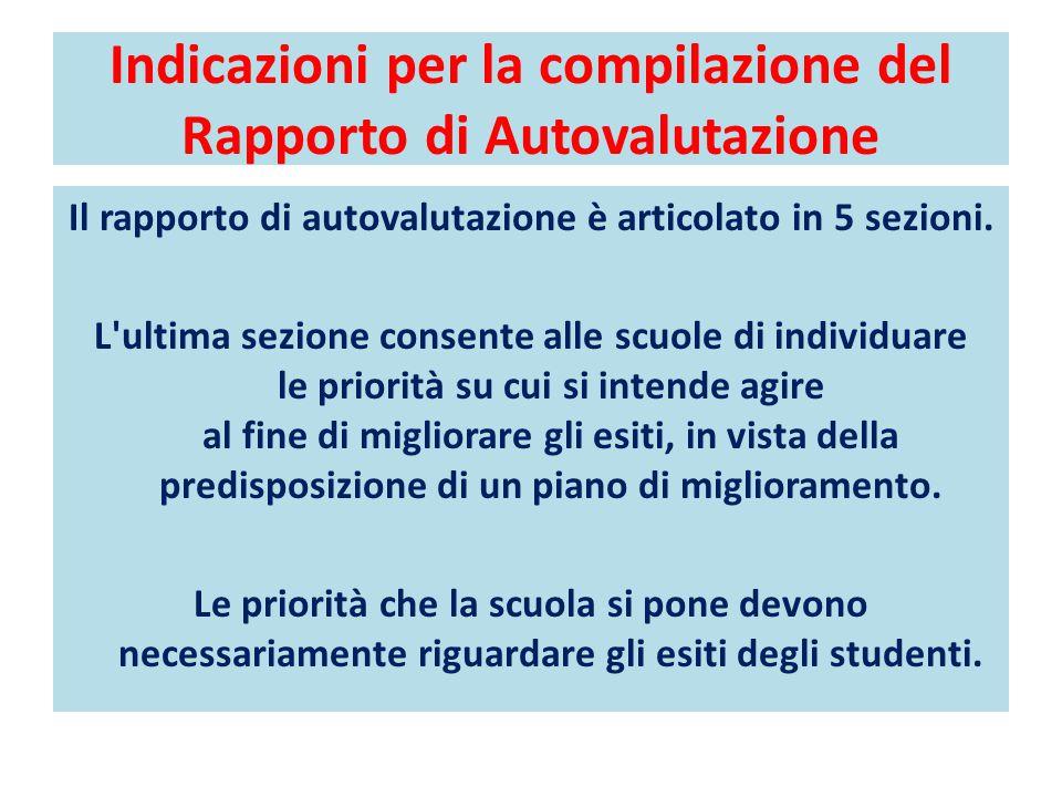 Indicazioni per la compilazione del Rapporto di Autovalutazione