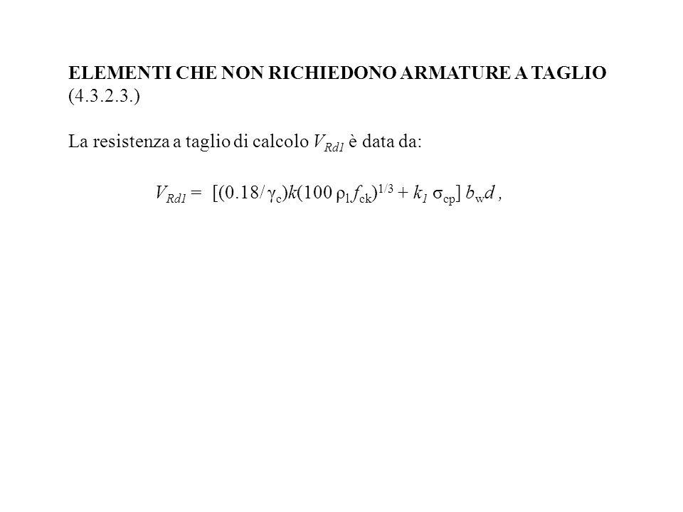 ELEMENTI CHE NON RICHIEDONO ARMATURE A TAGLIO (4.3.2.3.)