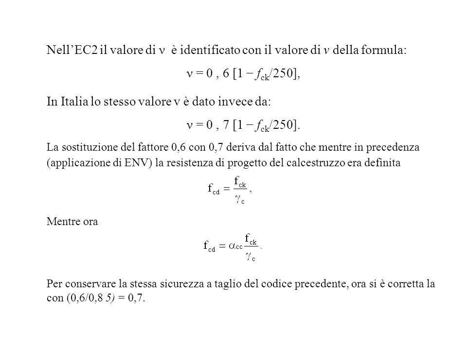 In Italia lo stesso valore v è dato invece da: