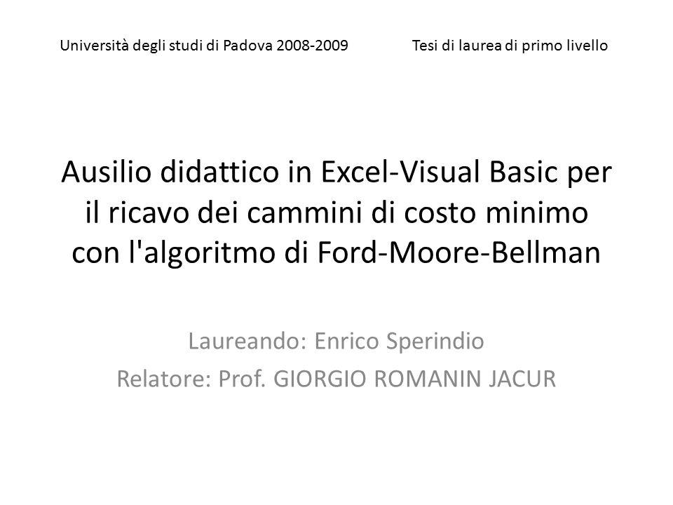 Laureando: Enrico Sperindio Relatore: Prof. GIORGIO ROMANIN JACUR