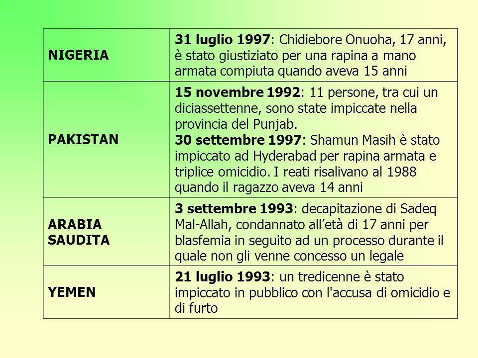 NIGERIA 31 luglio 1997: Chidiebore Onuoha, 17 anni, è stato giustiziato per una rapina a mano armata compiuta quando aveva 15 anni.