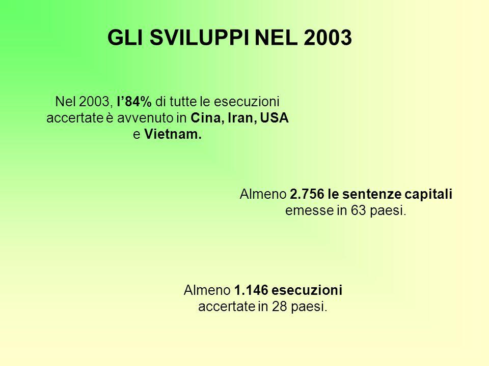 GLI SVILUPPI NEL 2003 Nel 2003, l'84% di tutte le esecuzioni accertate è avvenuto in Cina, Iran, USA e Vietnam.