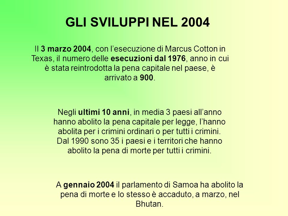 GLI SVILUPPI NEL 2004