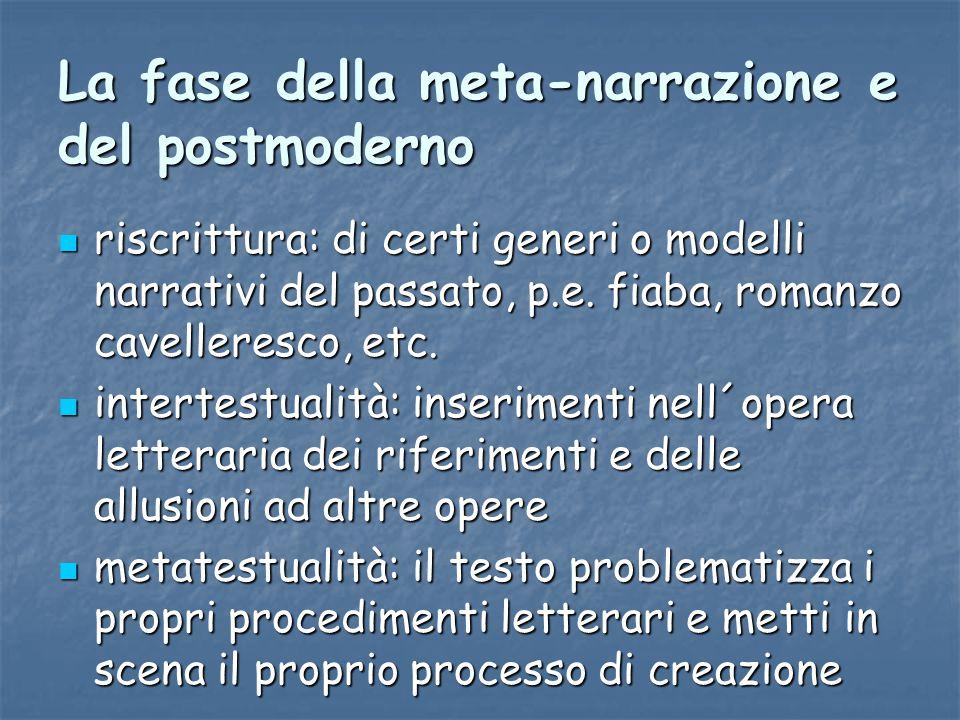 La fase della meta-narrazione e del postmoderno