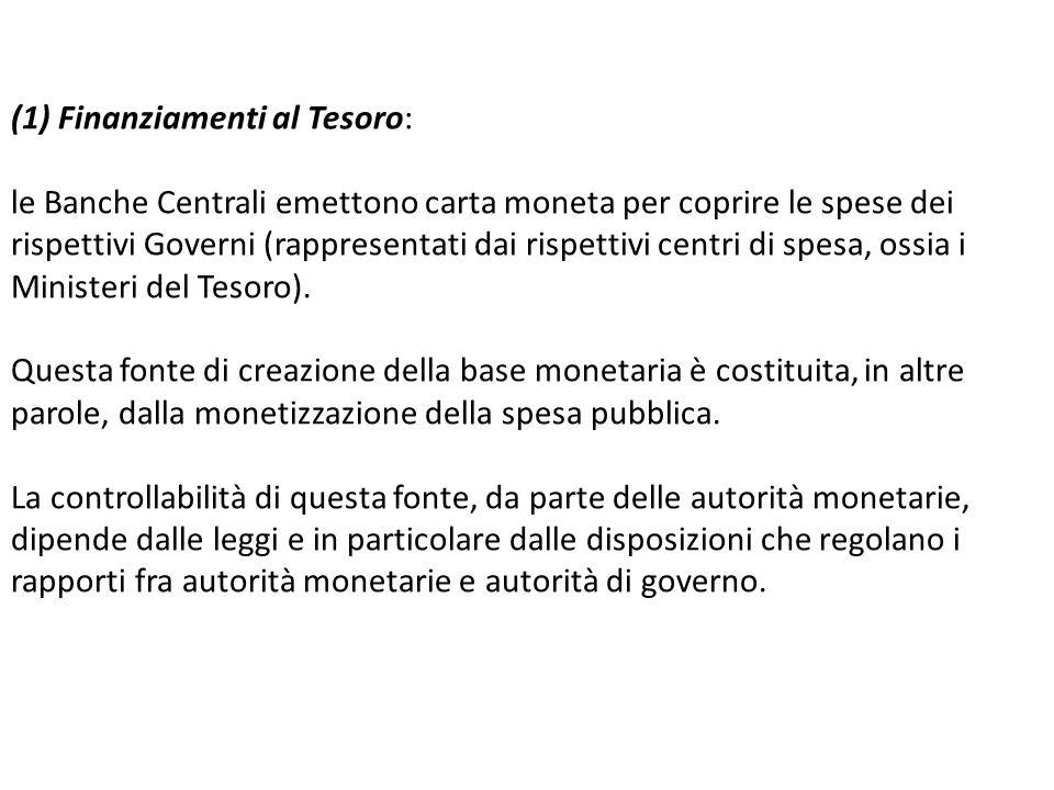 (1) Finanziamenti al Tesoro: le Banche Centrali emettono carta moneta per coprire le spese dei rispettivi Governi (rappresentati dai rispettivi centri di spesa, ossia i Ministeri del Tesoro).