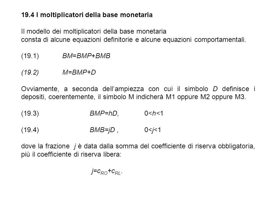 19.4 I moltiplicatori della base monetaria