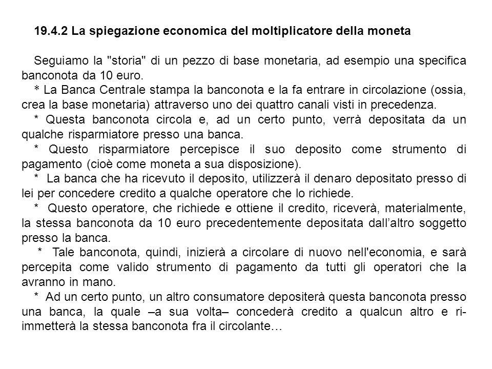 19.4.2 La spiegazione economica del moltiplicatore della moneta