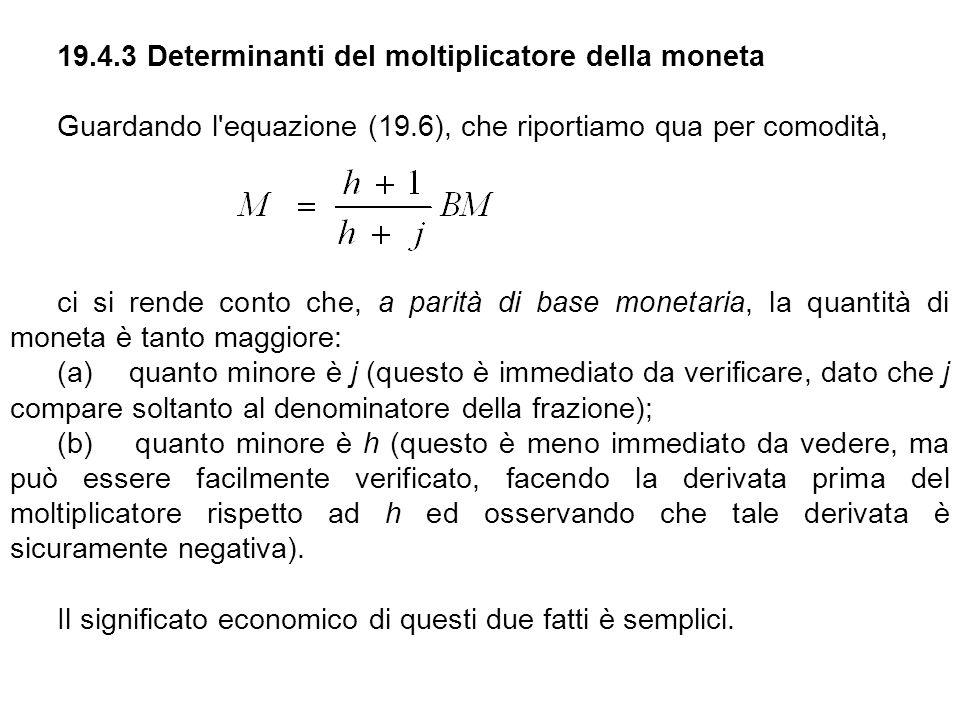 19.4.3 Determinanti del moltiplicatore della moneta