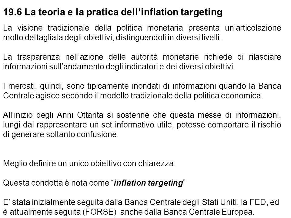 19.6 La teoria e la pratica dell'inflation targeting