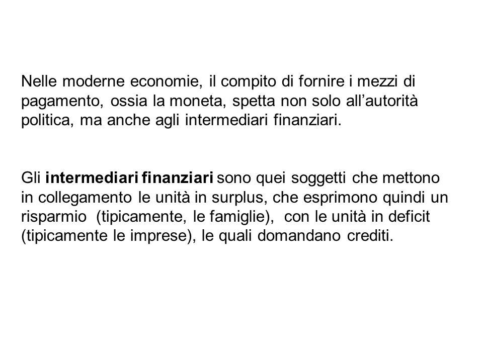 Nelle moderne economie, il compito di fornire i mezzi di pagamento, ossia la moneta, spetta non solo all'autorità politica, ma anche agli intermediari finanziari.
