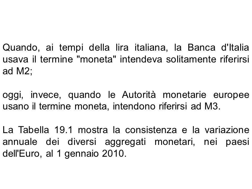 Quando, ai tempi della lira italiana, la Banca d Italia usava il termine moneta intendeva solitamente riferirsi ad M2;