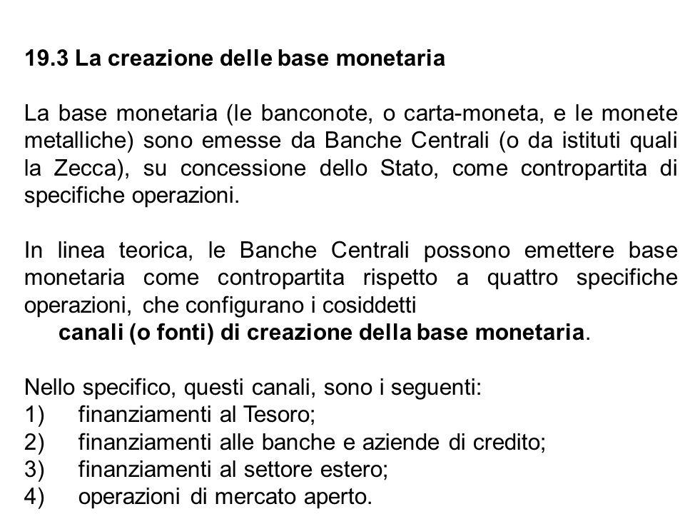 19.3 La creazione delle base monetaria