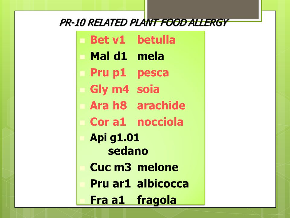 Bet v1 betulla Mal d1 mela Pru p1 pesca Gly m4 soia Ara h8 arachide