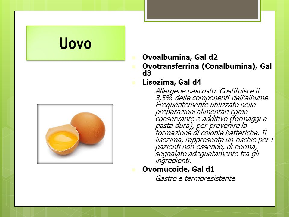 Uovo Ovoalbumina, Gal d2. Ovotransferrina (Conalbumina), Gal d3. Lisozima, Gal d4.
