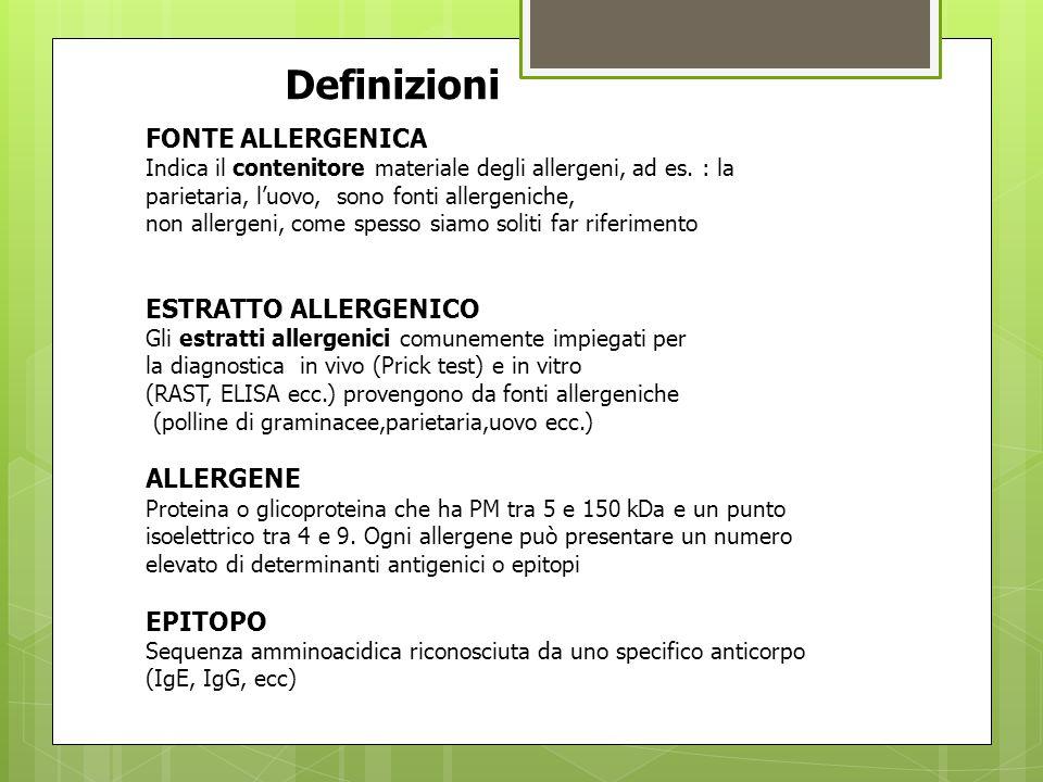 Definizioni… FONTE ALLERGENICA ESTRATTO ALLERGENICO ALLERGENE EPITOPO