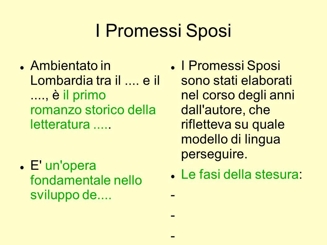 I Promessi Sposi Ambientato in Lombardia tra il .... e il ...., è il primo romanzo storico della letteratura .....