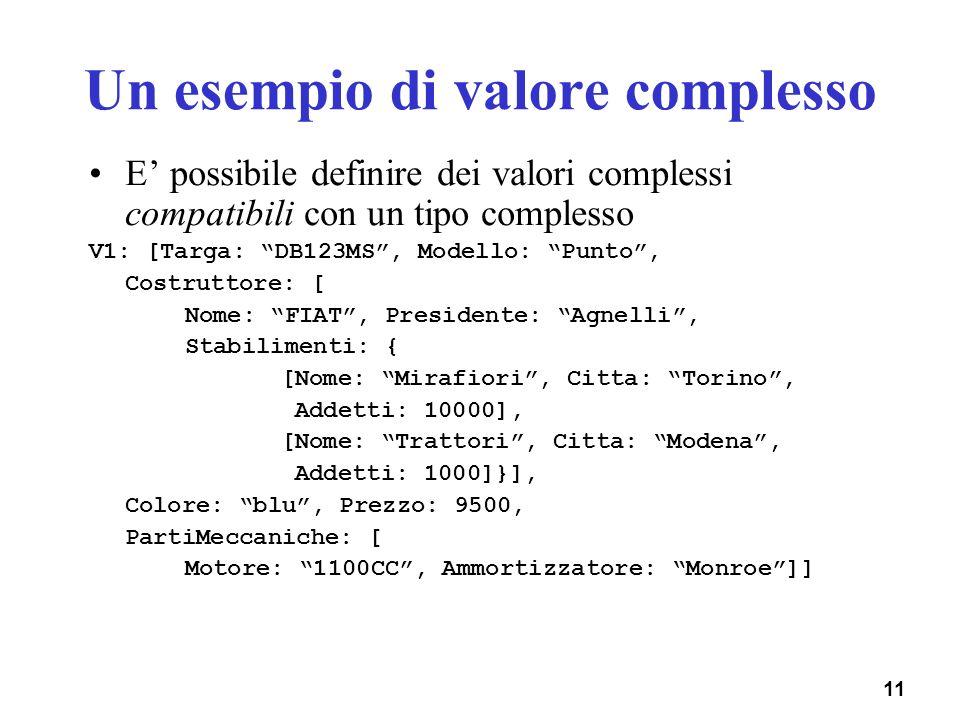 Un esempio di valore complesso