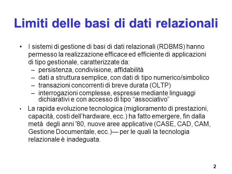 Limiti delle basi di dati relazionali