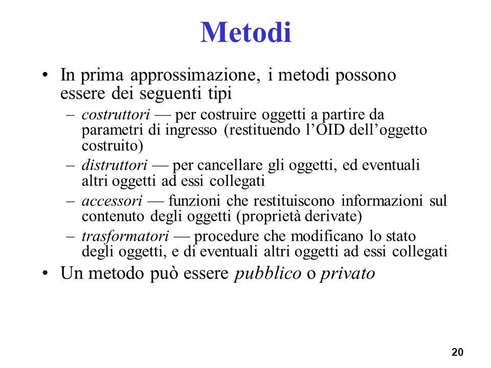 Metodi In prima approssimazione, i metodi possono essere dei seguenti tipi.