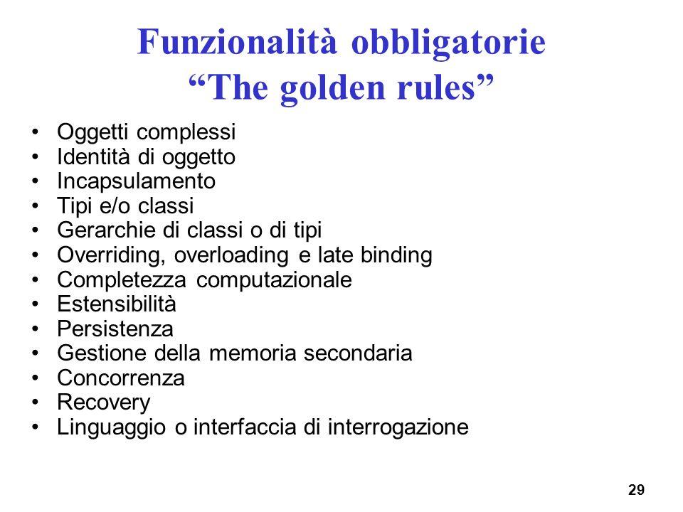 Funzionalità obbligatorie The golden rules
