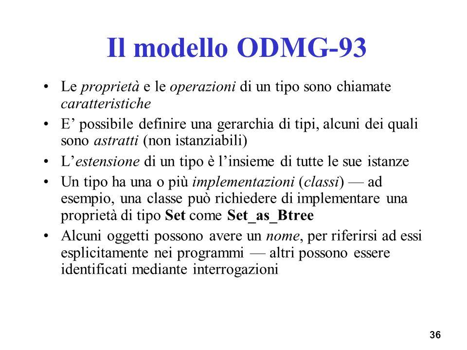 Il modello ODMG-93 Le proprietà e le operazioni di un tipo sono chiamate caratteristiche.