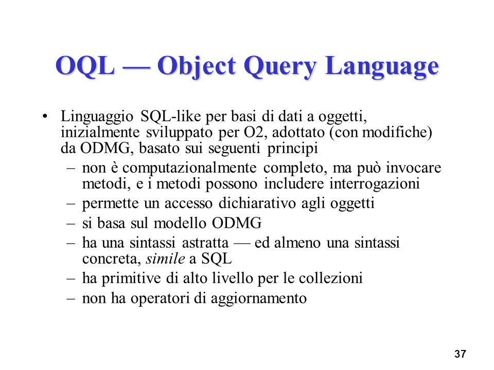 OQL — Object Query Language