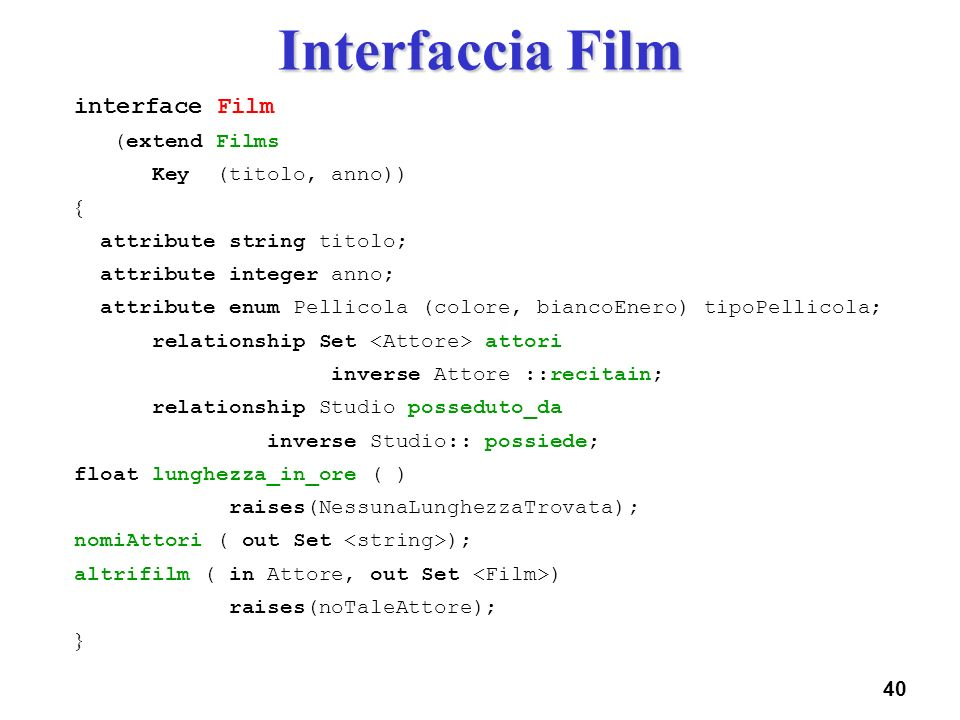 Interfaccia Film interface Film (extend Films Key (titolo, anno)) 