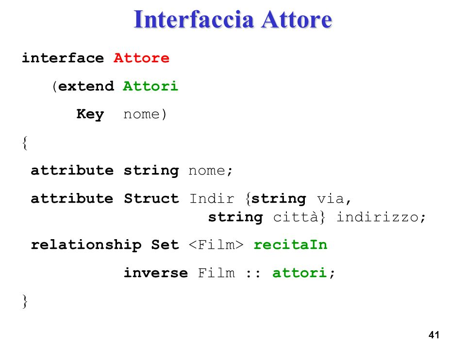 Interfaccia Attore interface Attore (extend Attori Key nome) 