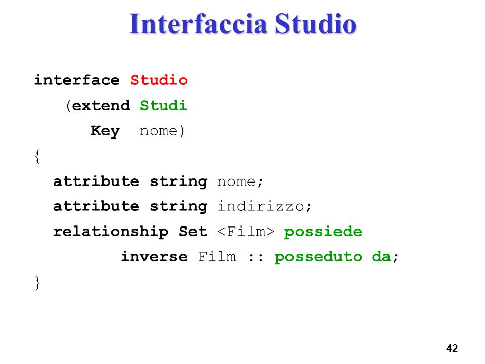 Interfaccia Studio interface Studio (extend Studi Key nome) 
