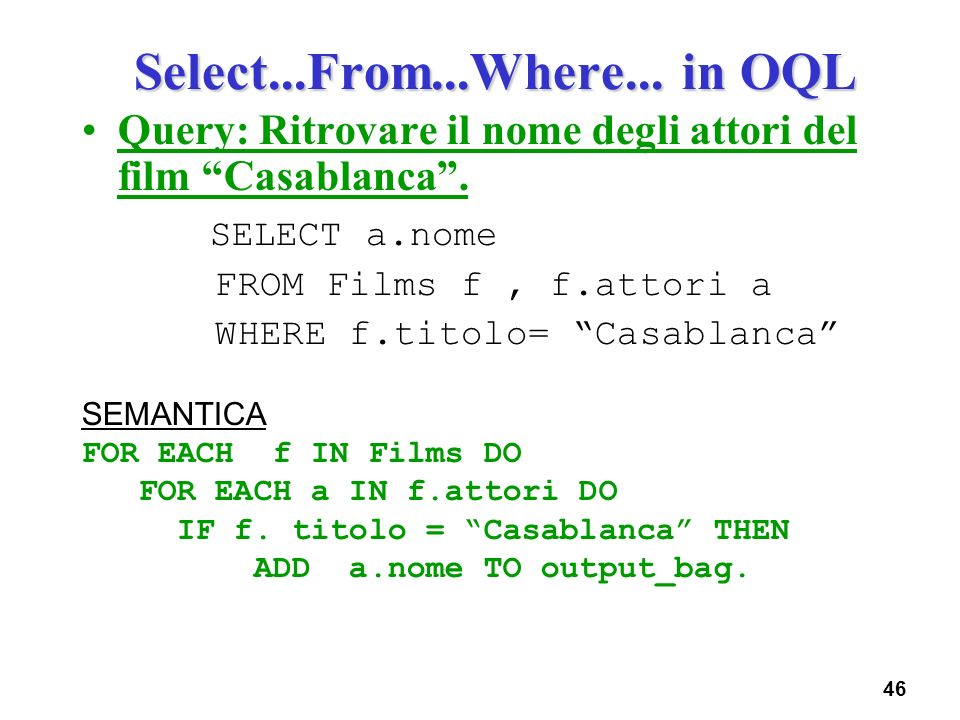 Select...From...Where... in OQL